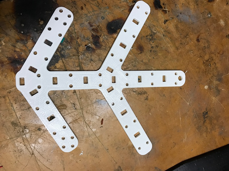 One of 6 of the parts needed for each Snowflake