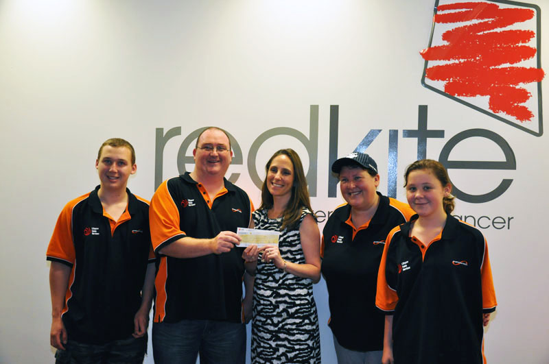 Here we are delivering the $3620 to Redkite on the 18th of January 2012. Pictured from Left to Right are: Jacob Rawsthorne, David Rawsthorne, Monique Keighery (General Manager Marketing & Relationships at Redkite), Suellen Rawsthorne, Juanita Rawsthorne.