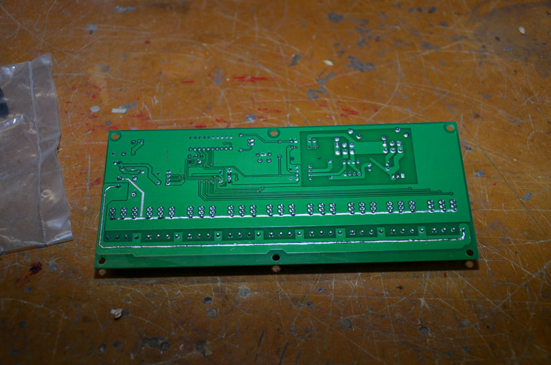 This is the initial board, which has been cleaned and the 2 solder tracks where the wire are to be added have had additional solder added.