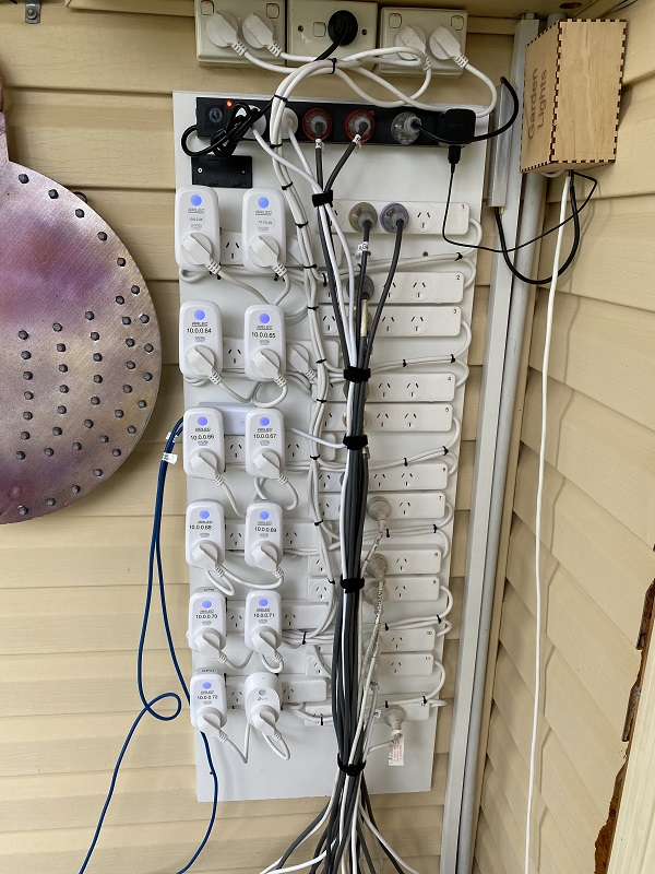 The upgraded Power board for 2020. 12 individually controlled WiFi switches that allowed a staged power on of the controllers and power supplies.