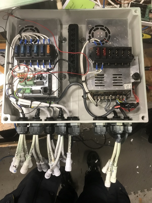 5V PSU for the 5V LED's, drawing close to 55A, the rating of this Meanwell PSU, as well as a 24V PSU for the floodlight power supplies. A small lan switch will allow the deck, relocated pixel screen and any additional new items to be plugged in to the network at this end of the house